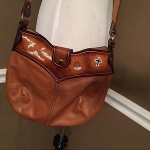 Vintage Hand Tooled Leather Handbag by Stine
